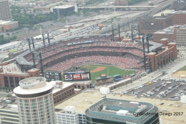 St. Louis Cardinal baseball stadium during a home game as seen from the top of the Gateway Arch