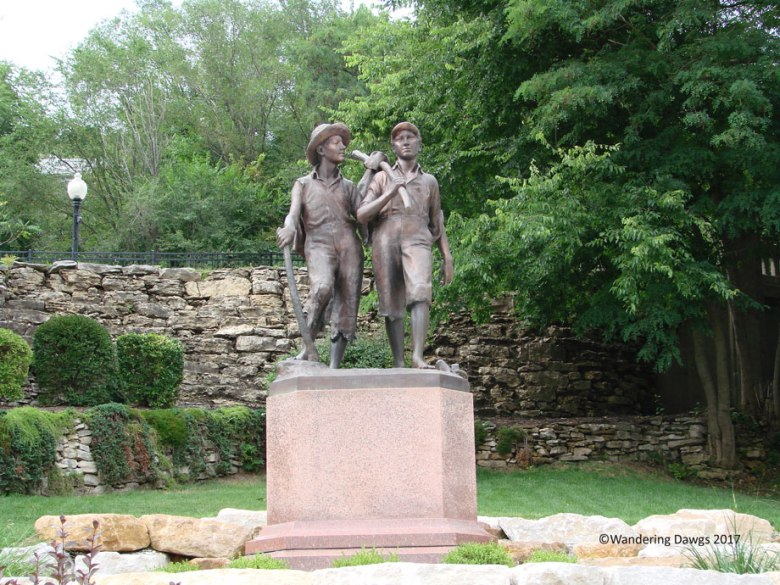 Tom and Huck Statue at the foot of Cardiff Hill