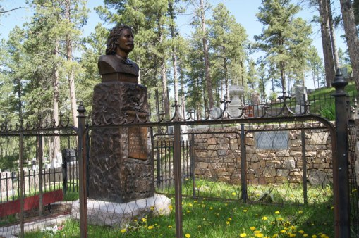 At her request, Calamity Jane was buried next to Wild Bill Hickok at the Mt. Moria Cemetery in Deadwood