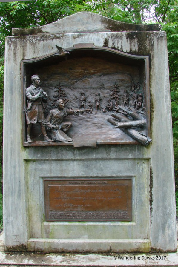 Lewis and Clark monument on the McKenzie Trail