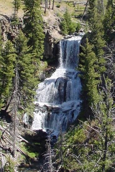 Waterfall along the Yellowstone Upper Loop Road