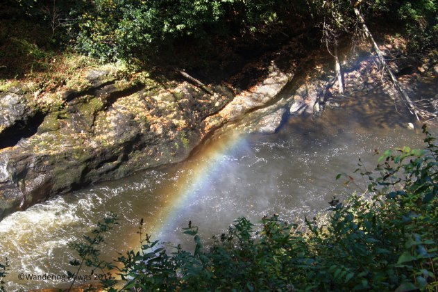 Rainbow at the bottom of Dry Falls near Highlands, NC in the Nantahala National Forest