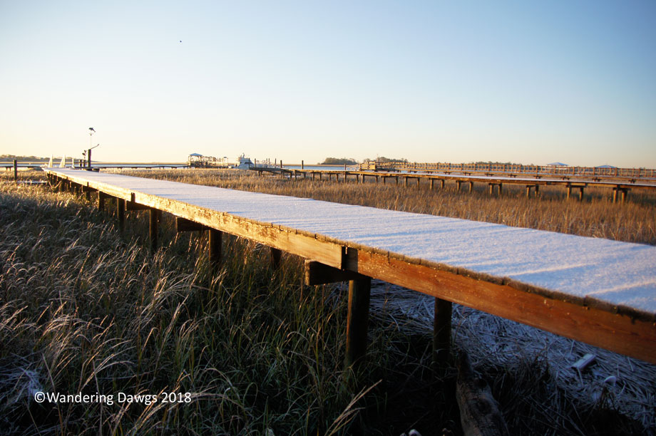 Snow covered walkway over the marsh