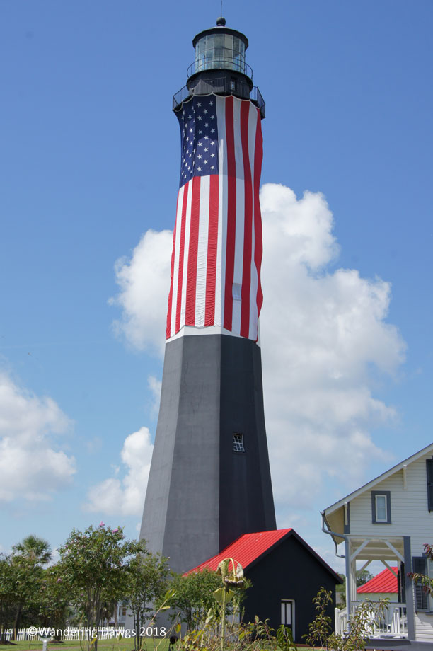 The Tybee Island Lighthouse displays the American Flag on 9/11/18 in honor of all those lost on 9/11/2001
