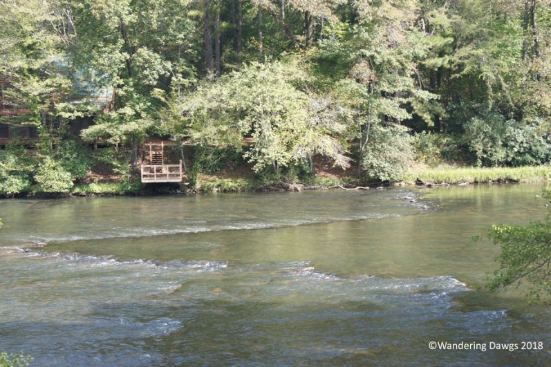 The V in the river is a fish trap made of piled rocks by Native Americans over 500 years ago