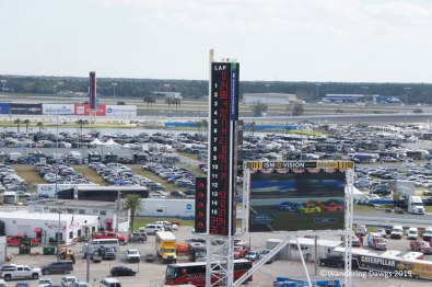 Lineup for the 2019 Daytona 500 with infield in the background