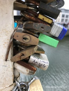 These locks are placed on the Ha'Penny bridge by lovers. To profess their undying love after placing the lock they throw the key into the River Liffey