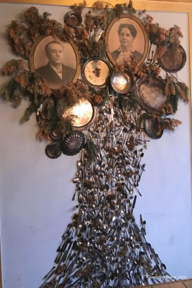 Family tree made of antique heirloom silverware